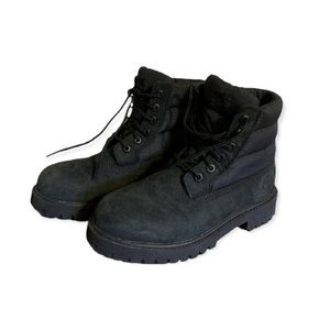 Timberland Black Leather and Textile Winter Booties - Boy's Size 1